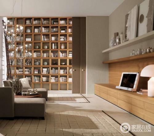 客厅书房为一体 20款巧搭书架客厅设计