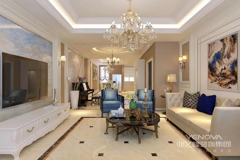 空间的无限延伸,墙面的简约处理,白色的线条,暖色的麻布和大理石奠定了空间的庄雅低调,给欧式古典的蔓延增加了更多可能性