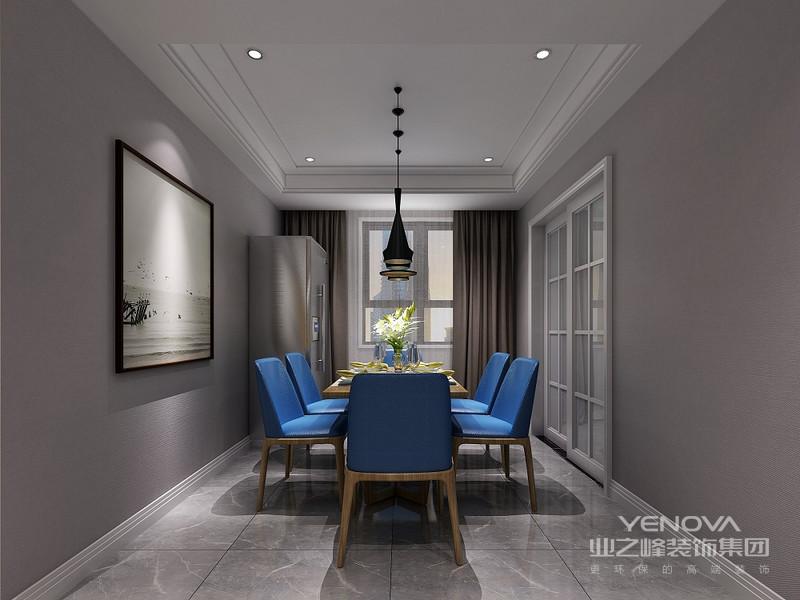餐厅背景墙,运用灯带效果,给予空间环形动线,最大化的利用空间。