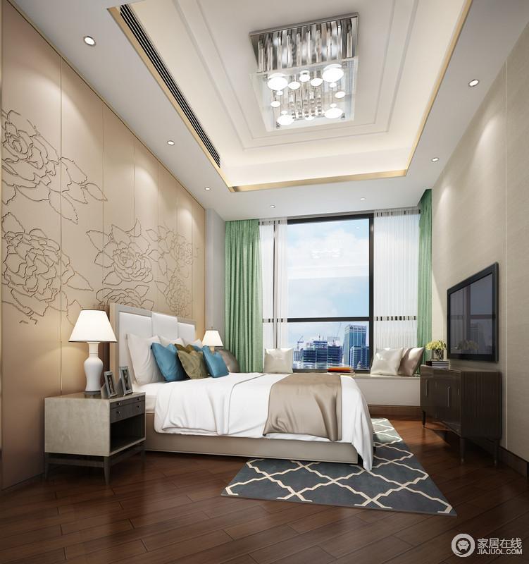 卧室十分清婉,驼色几何背景板上的雕花设计简单中更显生动,在绿色窗帘的点缀中遇见自然清新;白色床品与藏蓝色菱形地毯搭配出优雅,令设计简约的实木柜添置实用的同时,也添置了几分现代朴素。