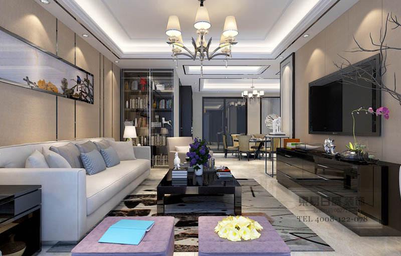 新中式客厅全景装修效果图