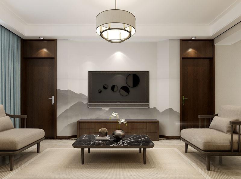 深棕木沉稳厚重,运用在对称的装饰门和电视柜上,愈加显得电视背景墙的空灵悠远;水墨描画的远山淡影层叠,一下子将空间意境拉至自然之中,缥缈出闲适隐逸的旷远宁谧;一抹蓝色窗帘,则为静怡空间注入几分清爽的活力。