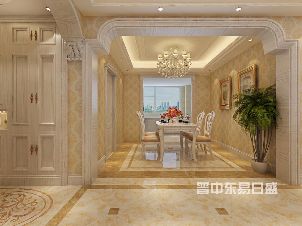 餐厅沿用客厅大面积的暖色墙纸,搭配白色木框餐桌椅,贵族气息扑面而来。