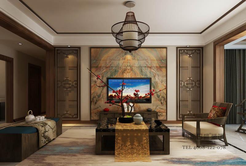 临沂德馨园客厅装修效果图_新中式