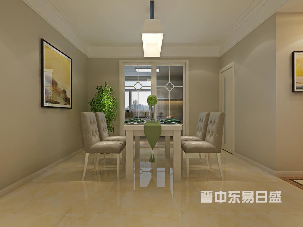 餐厅装饰依旧干净简洁,墙面装饰画与门厅挂画相呼应,色彩明快,增加了空间的活跃感。
