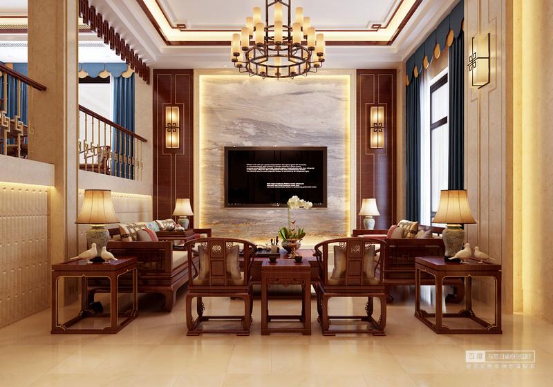 客廳大理石的背景墻,結合中式家居,
