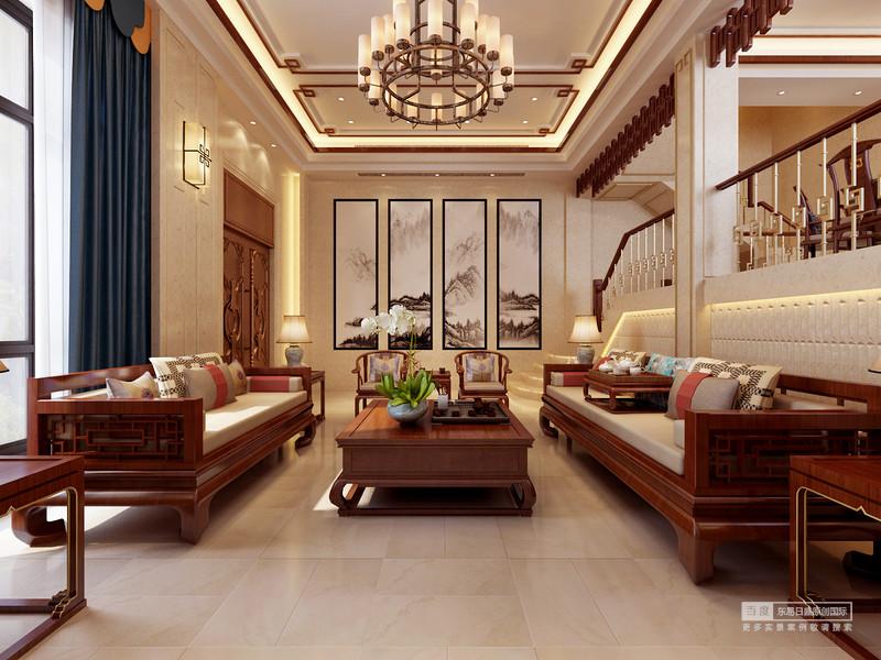 客廳山水畫的運用,很好的詮釋了中式風格的特色