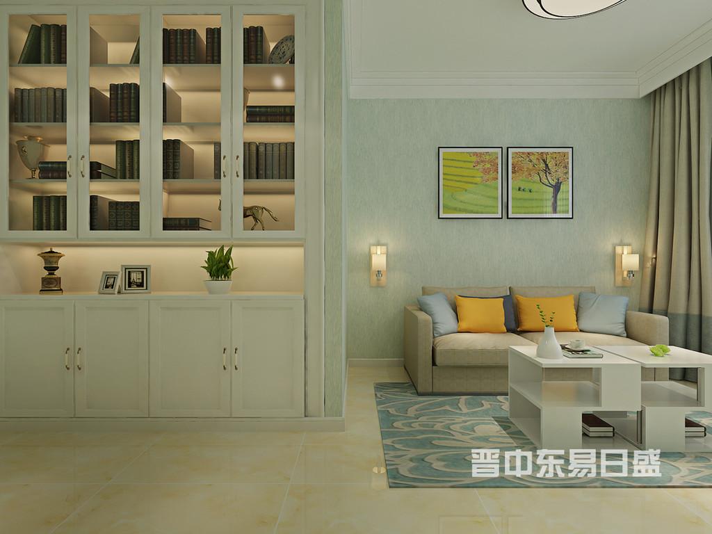 这个卧室墙体改的比较大,增加了一个书柜,同时在搭配沙发的时候,选用了一个可以拉伸的沙发,平时作为沙发一旦有客人的时候又可以当床。