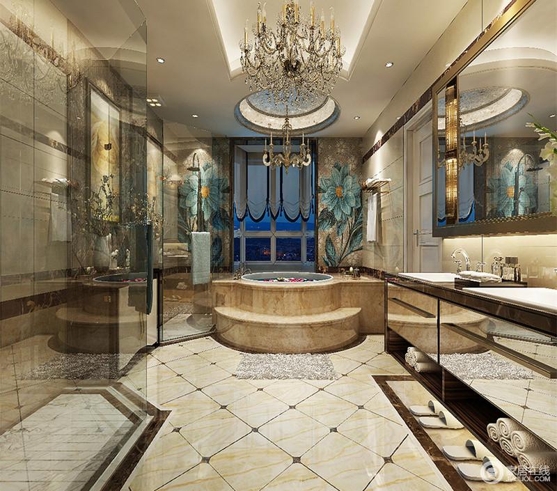 卫浴空间的华美充满了法式的优雅,丰富的装饰元素,体现出高贵典雅的浪漫;精美的水晶灯、绮丽的马赛克壁画、恢弘感跌层浴缸设计,空间无一处不展示出精致考究的复古华丽。