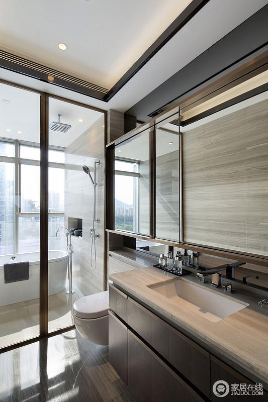 卫浴间虽然面积有限,但是设计师通过分区来强化人性化需求,让生活更显质感;利落的设计减少了生活上的麻烦,并在木纹材质的点缀中,更显自然朴拙。