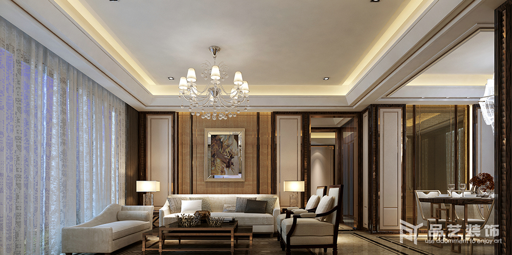 东部现代城四居室-客厅沙发背景墙