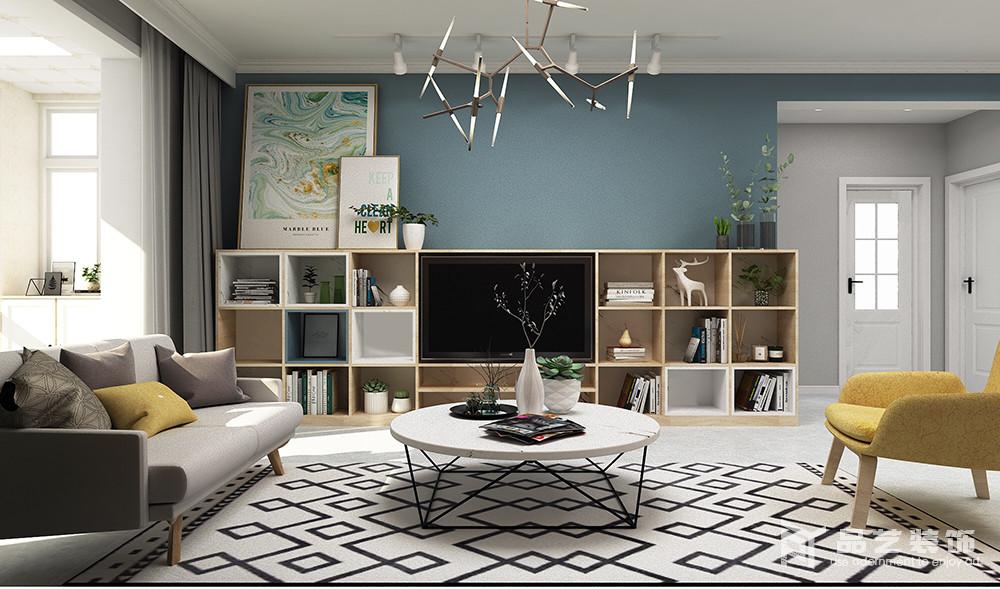 客厅电视背景墙以蓝色表达一种忧郁美学,让人在回到家的一刻,便能沉静和放松下来;而通过几何落地柜将收纳艺术表现得淋漓尽致,放置在柜上的挂画和绿植,带着一种生活的细腻感和情调,更富格调。