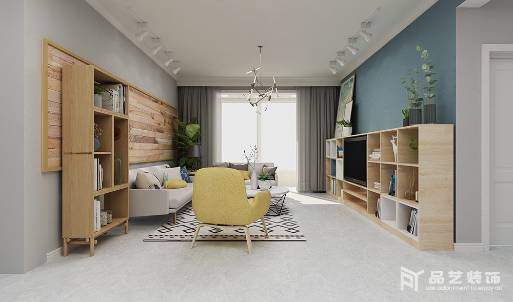客厅浅灰色的地砖与窗帘深浅适度,对比出层次,而背景墙以蓝色和灰色漆的色彩反差,奠定雅静的基调;轻巧的北欧家具与几何落地柜,黄色扶手椅点缀其间,让生活更充满了情调和活力。