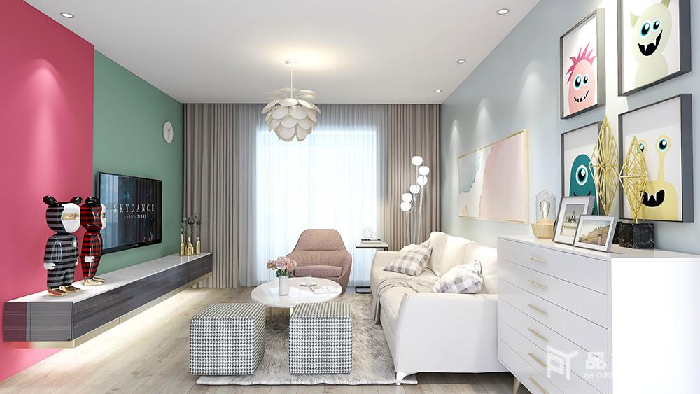新富家园三居室-客厅