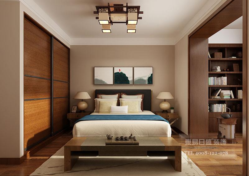 临沂新中式别墅装修卧室2