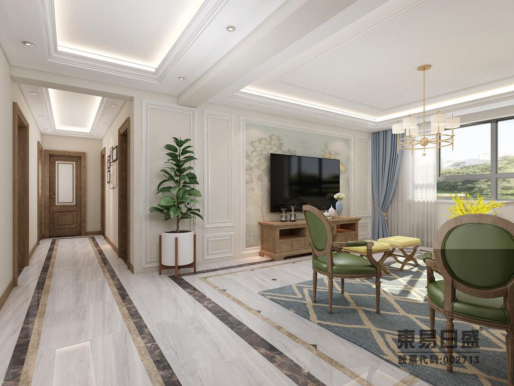客廳以石膏線條框建幾何效果,淺米色的涂料與之構成,.