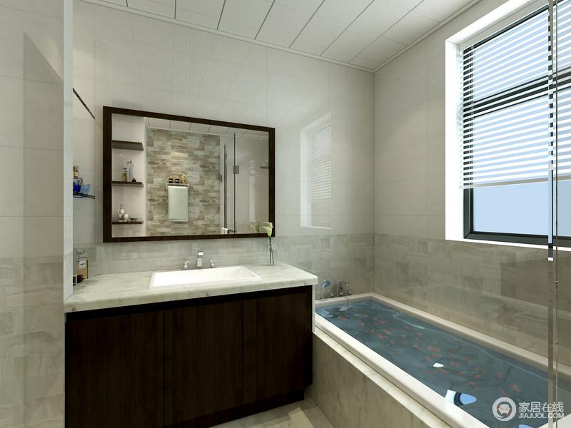 卫浴间利用乳白色的瓷砖来增加空间的明亮度,百叶窗将阳台引入室内,更显明快;黑檀木和灰白色大理石组成的盥洗台简洁规整,与镜饰构成实用;浴缸和淋浴区满足不同的需求,带你体验沐浴好时光。