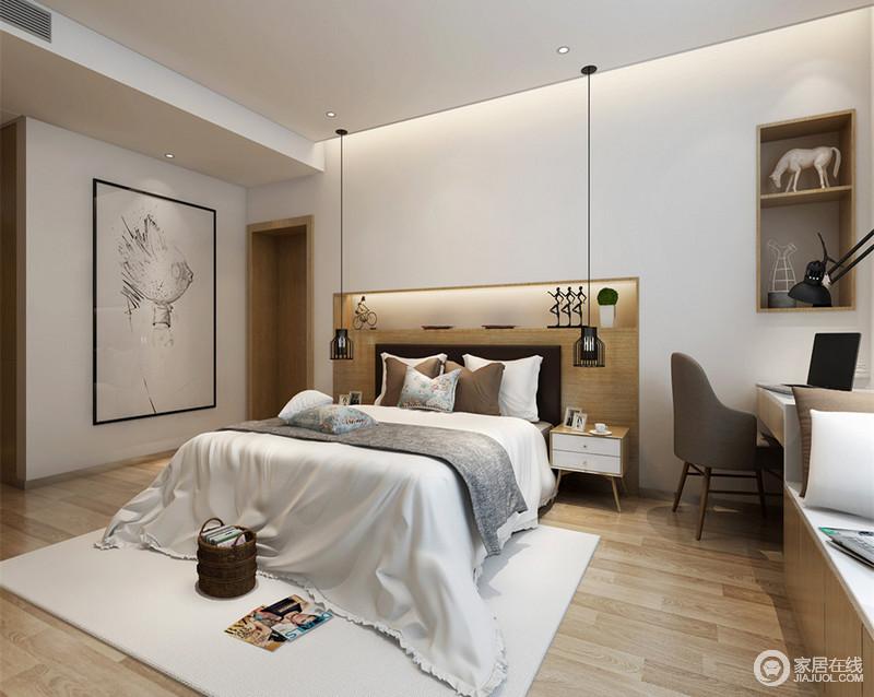 卧室的设计比较注重功能上的实用,内嵌的床头具备置物功能,灯带和对称的极简线灯提供了温和的专属光源;窗户前错落的书桌和卡座连为一体,不动声色间将办公与休闲趣味结合起来。