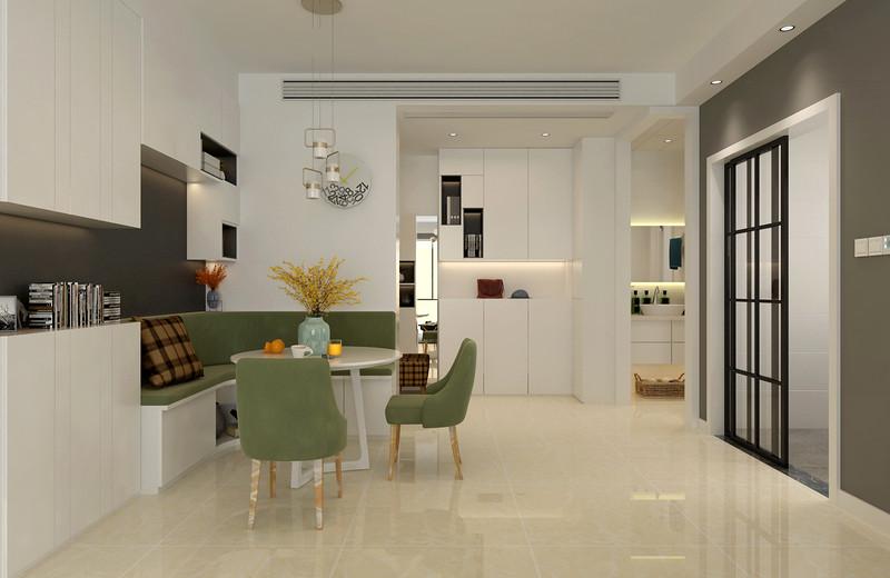 餐厅虽然布置的简约舒朗,但绿白配的卡座形式,无疑不是给空间增添了休闲气质,加上墙面上白色置物架的大片衬托,餐厅显得实用且闲逸舒适。