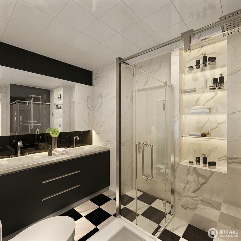 卫浴间以黑白色为主,力求以黑白打造魔幻的空间;设计师巧妙地利用墙体结构来制成置物台,实用之余显出工业感;干湿分区带来整洁,黑白盥洗台以绅士般的姿态,令卫浴时光更加质感。