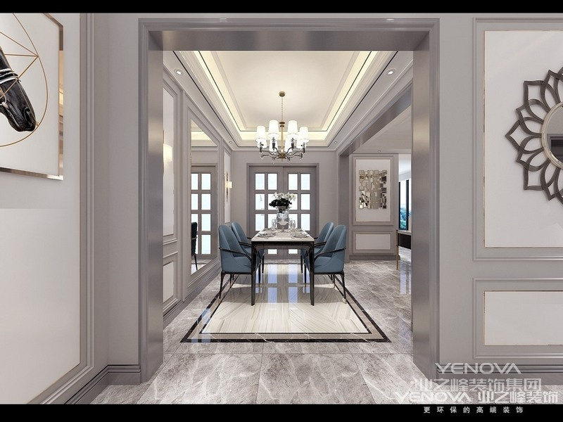 案为轻奢风格风格,简约俐落的质材铺叙与敞明大方的格局尺度,是轻奢风定调的设计居宅中,不可或缺的重要元素。在案例中,以陈设艺术品及金属线条材质来营造大气、自然、轻奢的装饰美学氛围。墙面、地面、家具陈设等均以简洁的造型、精细的工艺为其特征,强调品质感和细节处理。在色彩搭配方面以高级灰色为主,温馨的布艺窗帘、湖蓝色的搭毯、直观大气的金属材质,带着淡淡的随意,随着轻轻的希冀让人感受到的是空间弥漫的温馨与舒畅。