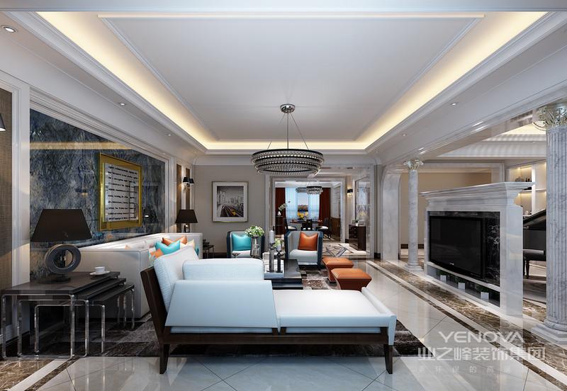 客厅在对称的手法营造下,看似中规中矩,但是黑白色彩的对比,又让空间有着沉稳的时尚气质;两把金属皮质座椅,造型简约流畅,配上格纹靠包,愈加添了几分时髦;材质拼接的沙发墙上,置物柜让展示收纳更具实用性。