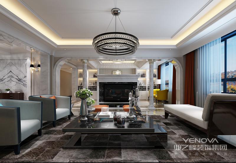 客厅中的沙发背景墙以一副抽象挂画蔓延出光线,灰色布艺沙发的柔软与地毯的条纹朴素之中,多了简约艺术;落地灯与各式圆几柔化了空间,呈现出方圆之美。