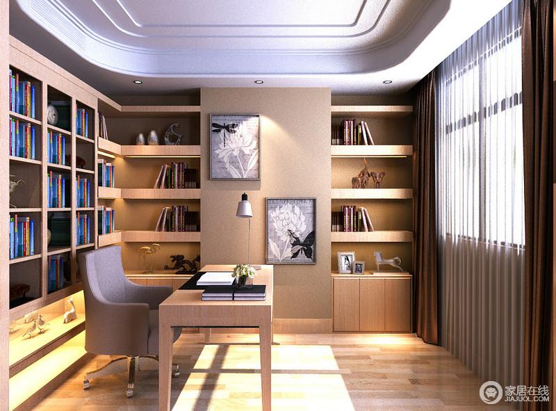 椭圆形的吊顶连通实木打造成书柜,构成一个有机的整体,实用功能的书柜和墙面的色彩统一,构成素雅与规整,简洁而实用;灰色旋转椅和简约的实木桌在轻巧台灯的点缀中,更显现代雅意。
