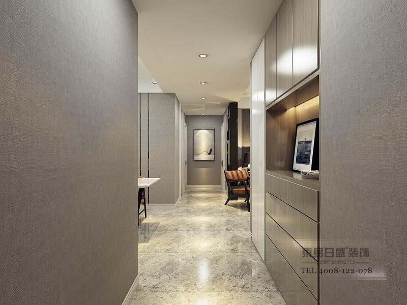 入户银色现代感,灰色壁纸配银色拉丝鞋柜,实用兼风格融入一体的现代感。