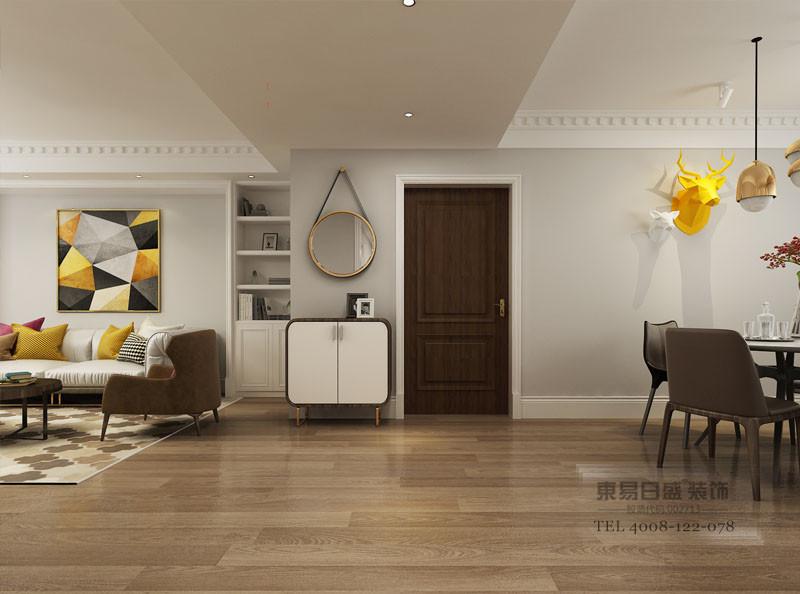 临沂汀香郡装修效果图中地面全部选用木地板营造舒适现代的家居内涵。