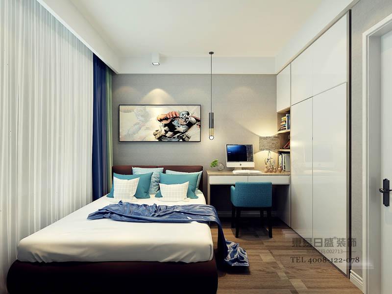 次卧客房清新感,使访客入户到入住体验感不被工业浓郁风格所影响,在欣赏主人艺术家居风格的基础上,访客也能拥有属于访客的清新的居住体验