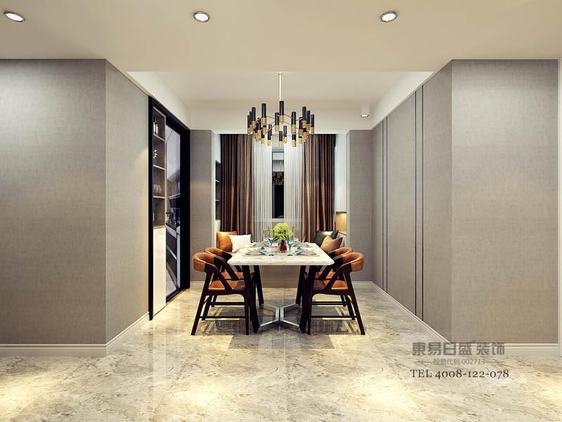 餐厅色系搭配较为简单,除了明显的橘色椅子准确划分着餐区,其余的银灰色,咖色,黑色木饰柜 都是本房屋的基本色彩,简单的颜色搭配使人的注意力更集中在美食上,让家庭成员一起享受用餐时光