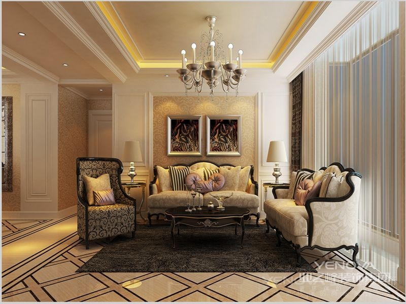 客厅墙面以经典的欧式木制护墙板造型为设计元素,刚柔并济,相辅相成。电视背景墙为象牙白色开放漆护墙板