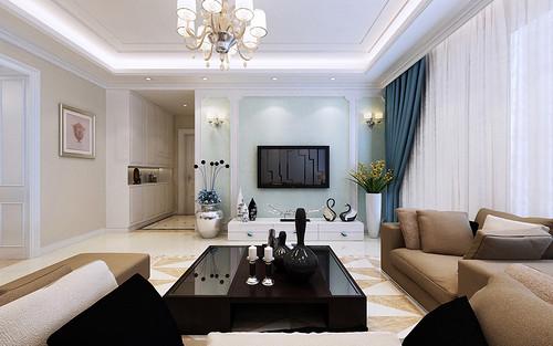 电视墙装饰了欧式石膏线,涂刷水蓝墙漆,流露出清新淡雅芳华.