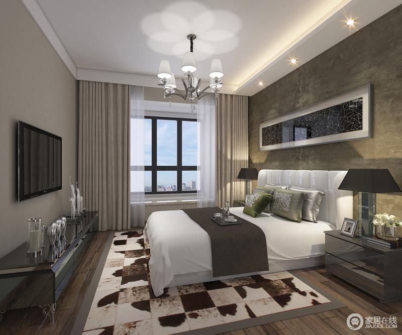 卧室以内敛的用色来营造沉稳和舒适,灰色调的空间经过黑色烤漆家具的点缀彰显着现代冷峻;简单而实用的设计没有浮夸的语言,一切都以温馨为主,运用现代语言来表达生活质感。
