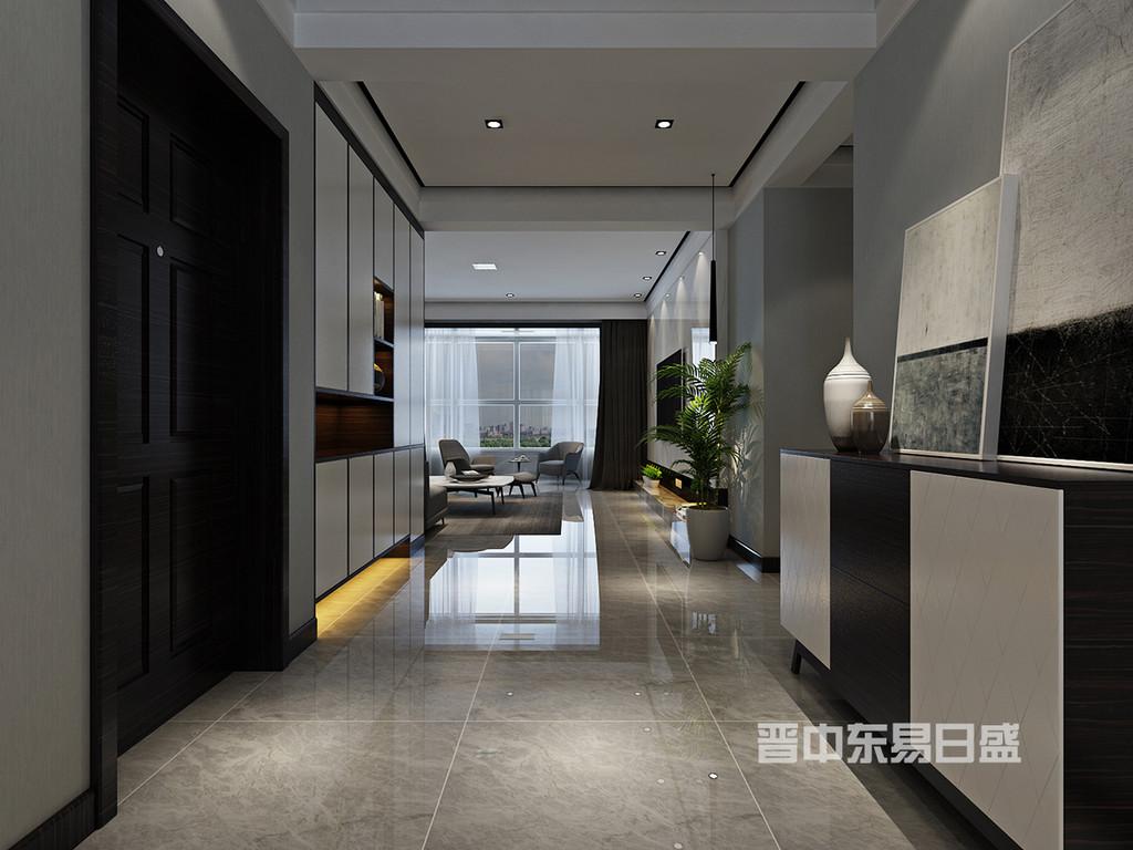 门厅柜体设计即有展示也兼具收纳功能,线条的运用让此空间更具理性。立体的线条,精准的比例拿捏与不同材质的语言诠释出现代简约的设计理念。