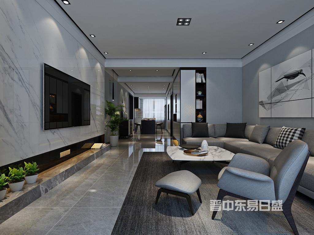 客厅黑色的彰显与白色的内敛,搭配上低饱和度的灰色家具,软装,在空间中产生互动对话。木饰面与石材元素使墙面得到延展,也成为了空间的主体。