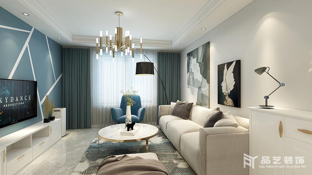 客厅以中性色为主,从米色布艺沙发到黑白抽象挂画组合,从扶手椅和窗帘的蓝色底蕴之中,赋予空间一种现代优雅;黄铜吊灯和大理石茶几等家具组合,尽情上演材质带来的质感。