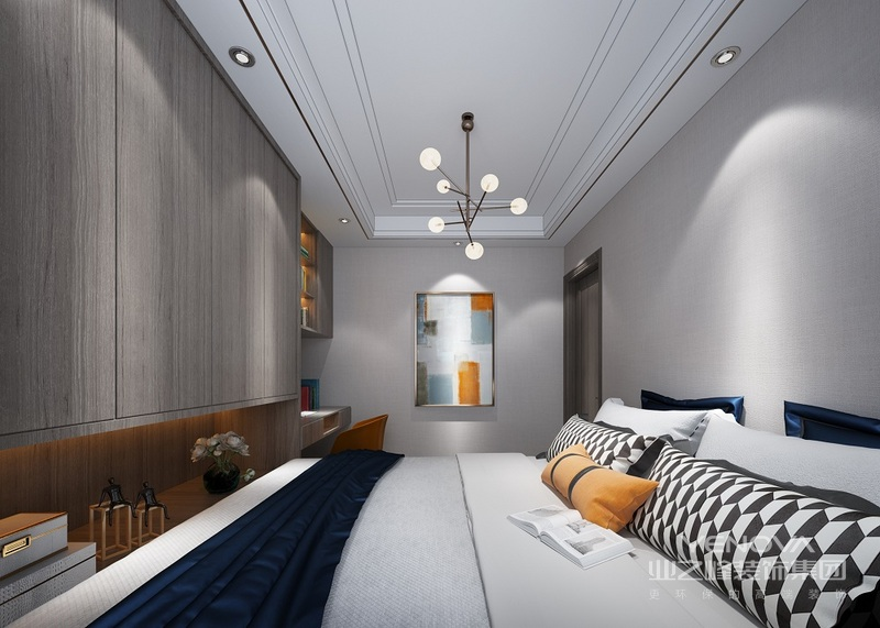 灰色通体的大衣柜,主卧室色调,依然是白色清爽,