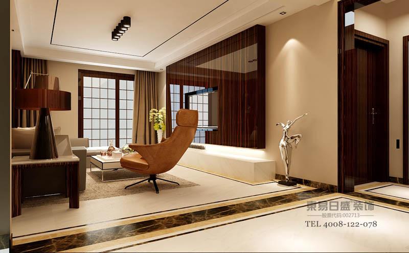 厅书柜增加空间的收纳,黑檀高光烤漆的整体木作更色彩质感更统一