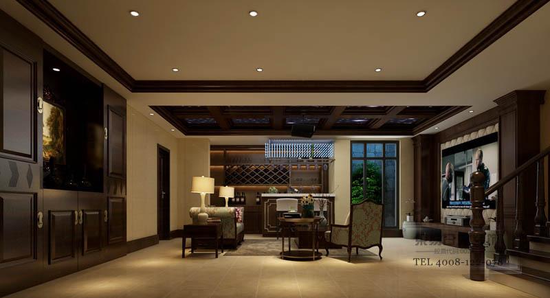 和润香堤客厅装修效果图_负一楼影像休闲室