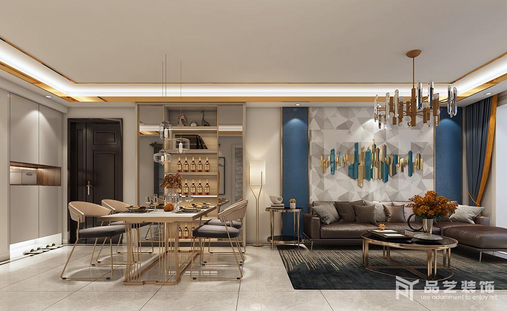 客餐厅互动式的设计让生活更有空间性,少了束缚,自然地流线型设计,更为流畅;酒柜搭配黄铜底座地餐桌和餐椅,让空间轻盈时尚,也多了份现代轻华,让用餐也是一种享受。