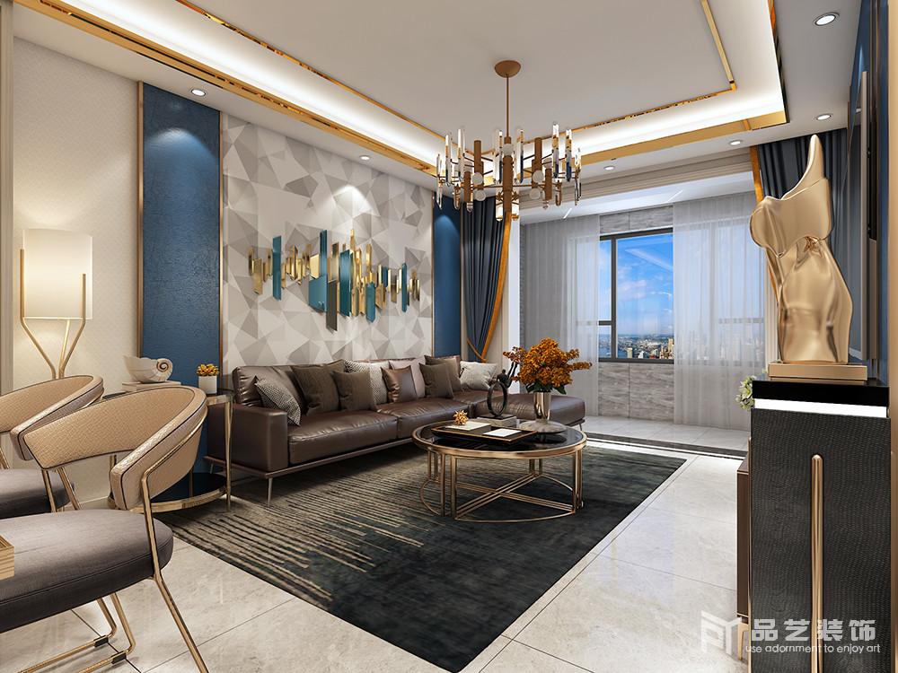 客厅结构规整,但是选材较为用心,金属边框与灯带交织着,让空间多了闪耀,搭配金属吊灯和黄铜圆几,满是轻奢;灰白几何板材铺贴在藏蓝色的墙面,素雅而多变;而咖色皮质沙发搭配黑绿色线条地毯造就老旧和成熟,便让生活多了份厚重感和品味。