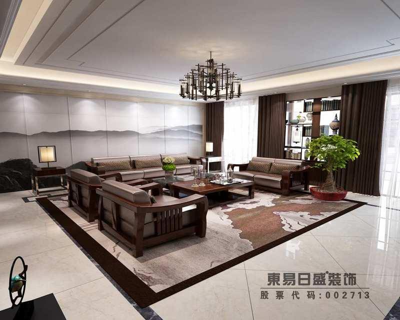 客廳的沙發背景墻以山嵐云飛的畫作張揚墨意沉寂,與地毯的咖色古意構成對比,實木沙發組合更是讓空間帶著咖色的暖意,讓生活不是溫度。