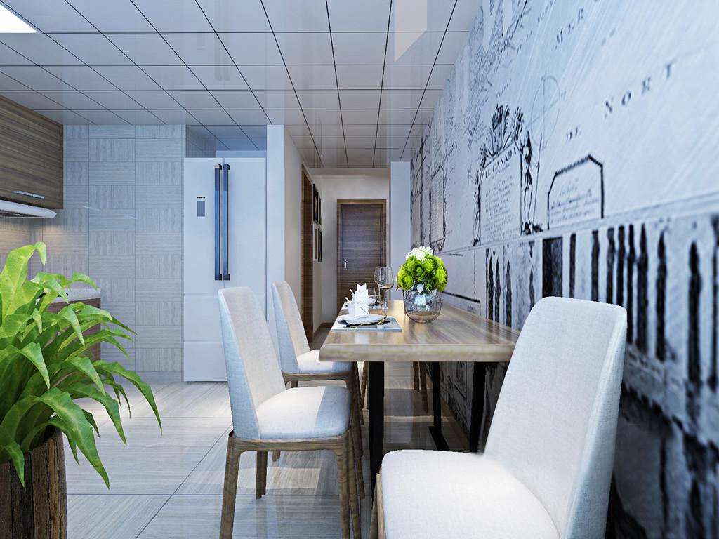 餐厅坐落在厨房的一角,细长型实木餐桌因为原木椅的柔和更为温实;墙面黑白简画设计丰富了空间的简约气息,可谓黑白之间,营造出轻漫地情调,小而精致。