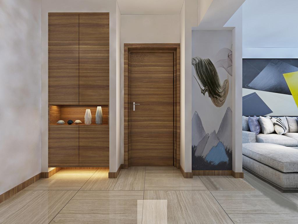 玄关因为墙体自身的结构立体感十足,设计师巧妙地将实木收纳柜嵌入墙体,构成收纳美学,陈列的器物,展现出生活之美;抽象地自然画张贴在墙面,更填色彩之雅。