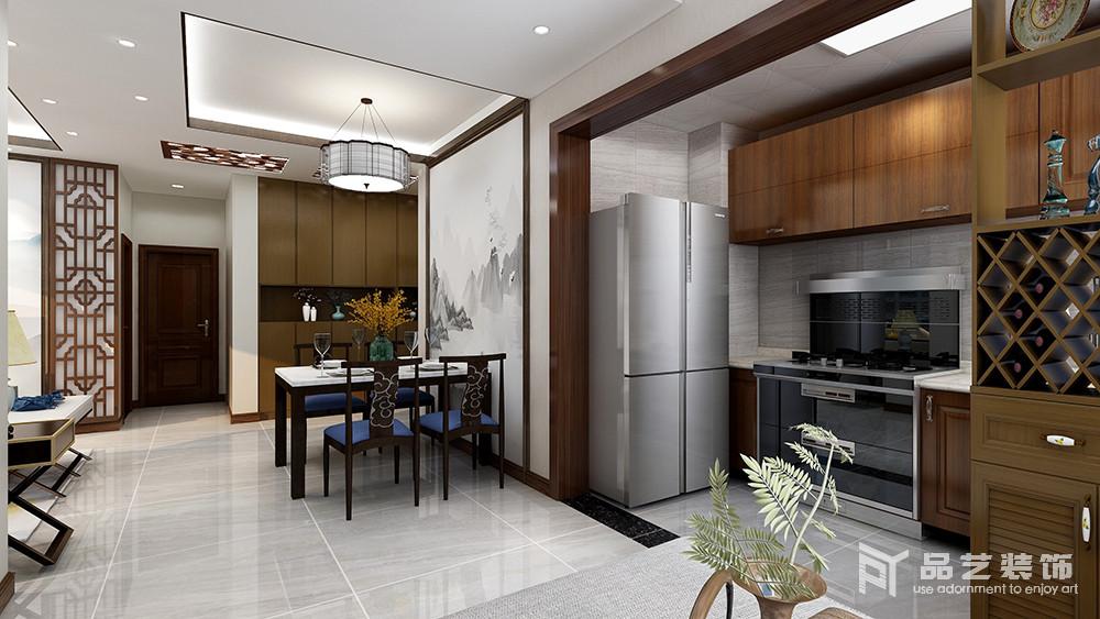 餐厅以开放式的设计,让生活多了一份简单,灰白云墨挂画奠定了空间的东方气息,搭配蓝色椅面的实木餐椅和餐桌,尽显新中式的设计精髓:简美、端庄。