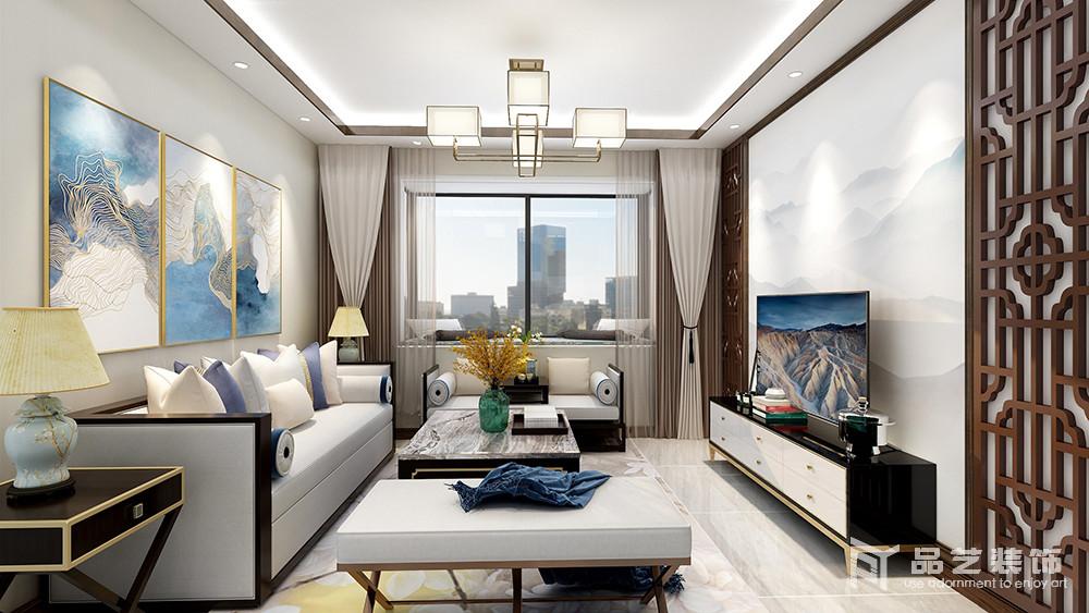 客厅的吊顶以灯带和金属几何吊灯组合的形式,让空间通明;中性色的窗帘搭配浅灰色新中式沙发,素雅而得体,彩色挂画和新中式家具增添了不少色彩,与窗棂背景墙屏风,成就了空间的东方新雅。