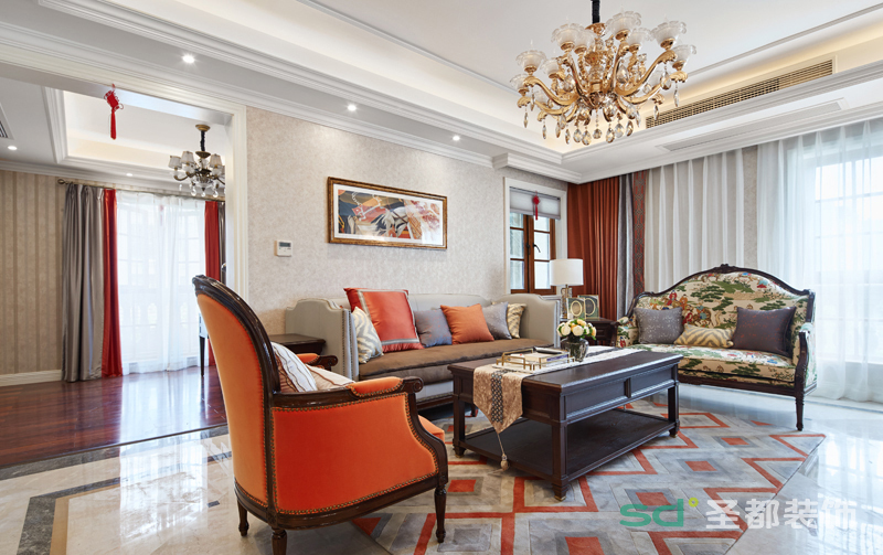 客厅电视背景是采用大理石,颜色以米色为主,也是最特别的地方,客厅与餐厅的过度斜接也做的恰到好处,不同形状的吊顶与场景也相交辉映。