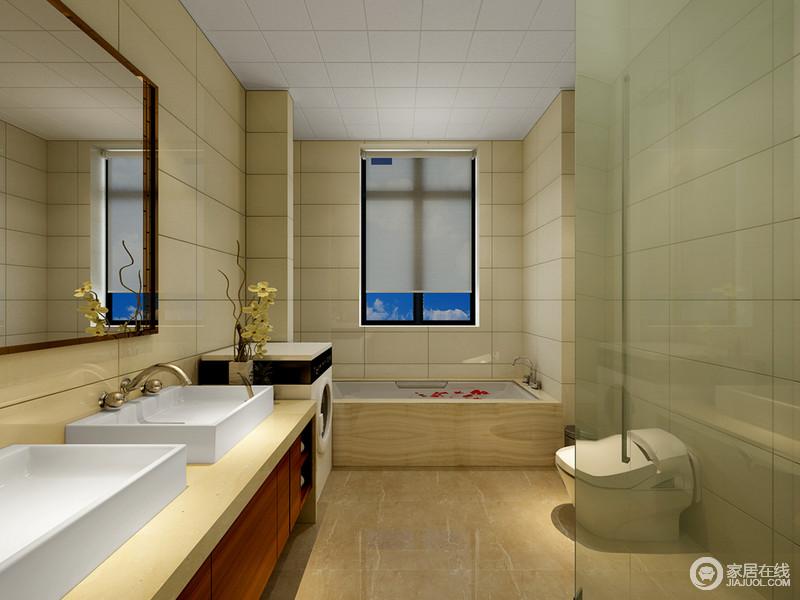 卫生间贴以米黄色的方砖,缝线横平竖直间勾勒出空间的丰富几何视觉感;双盥洗台饰以白色面盆、米黄色台面及棕红橱柜,与家电规整排列,简约的空间并不失层次感。